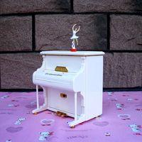 Fashion Modeling White Music Box Piano Music Box Ballerina Girl Birthday Gift Delicate Ornaments Ballerina Musical Boxes