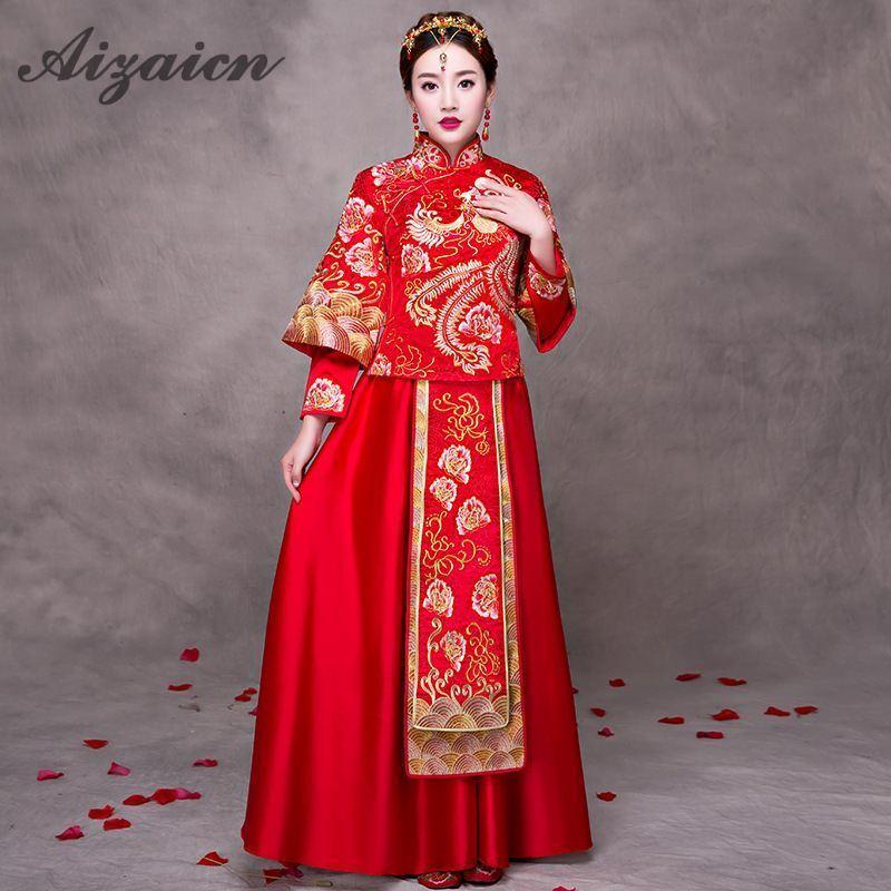2a28ef30f Vestidos de novia tradicionales chinos Cheongsam mujeres vestido de  matrimonio rojo moderno Qipao ...