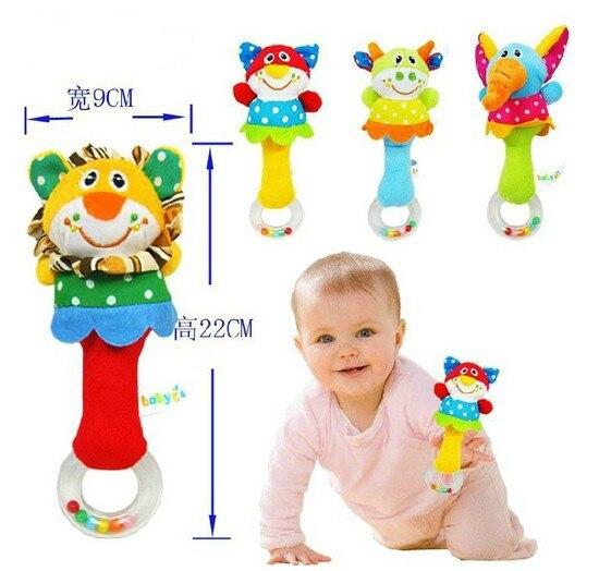 Candice guo plush toy stuffed doll cartoon animal elephant lion cat cattle stick baby toy rattle mobile shaking bell 4pcs/set