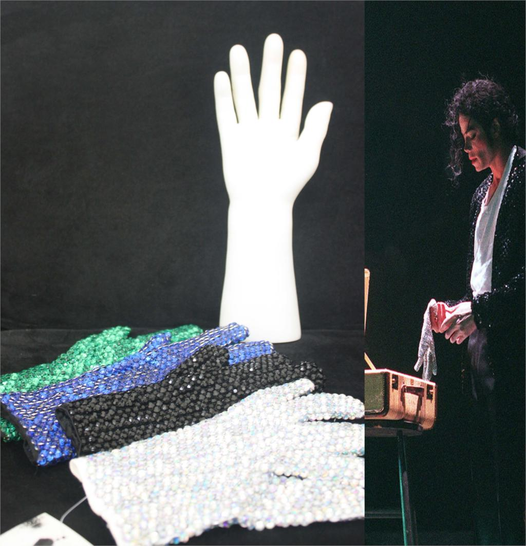 In Memory MJ Michael Jackson Colorful Both Side Crystal Rhinestone Handmade Performance Collection Glove