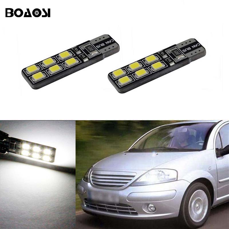 BOAOSI 2x <font><b>Led</b></font> T10 2835SMD Canbus Car Light With Projector Lens For Citroen C4 C5 C3 Grand Picasso Berlingo Xsara Saxo C1 <font><b>C2</b></font> ds3