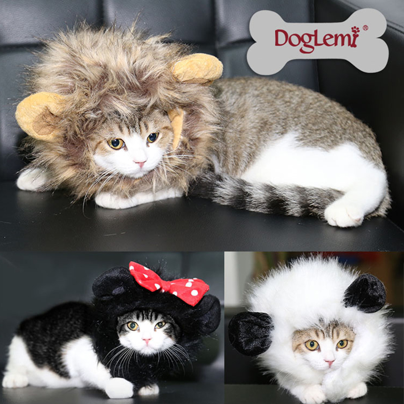 DogLemi 고양이 사자 갈기 의상 모자 헤어 애완 동물 강아지의 코스프레 고양이 가발 3 색을 사용할 수