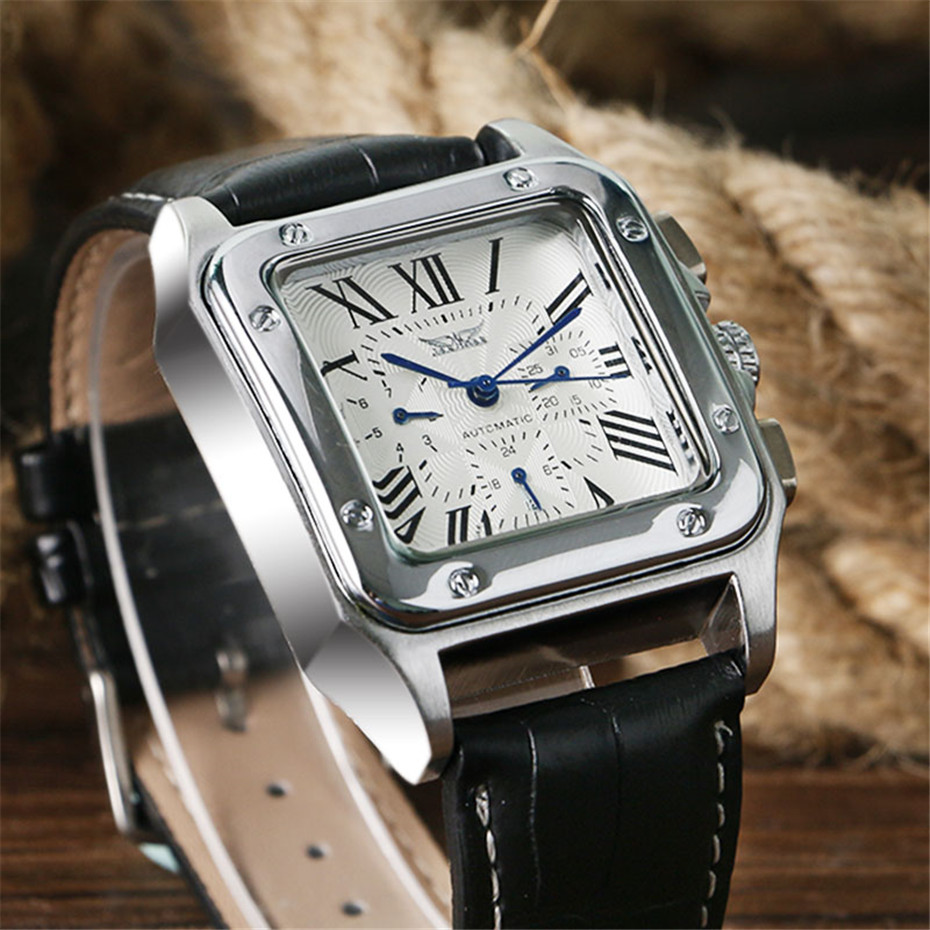 JARAGAR Mechanical Watches Men Fashion Genuine Leather Wrist Watch Automatic Date Day Display Watches Mens Clock with Gift Box (6)