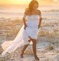 2017 Sem Encosto Fora Do Ombro Chiffon Bohemian Vestidos de Casamento A-line do Assoalho-Comprimento Vestido De Novia Para Casamentos Na Praia
