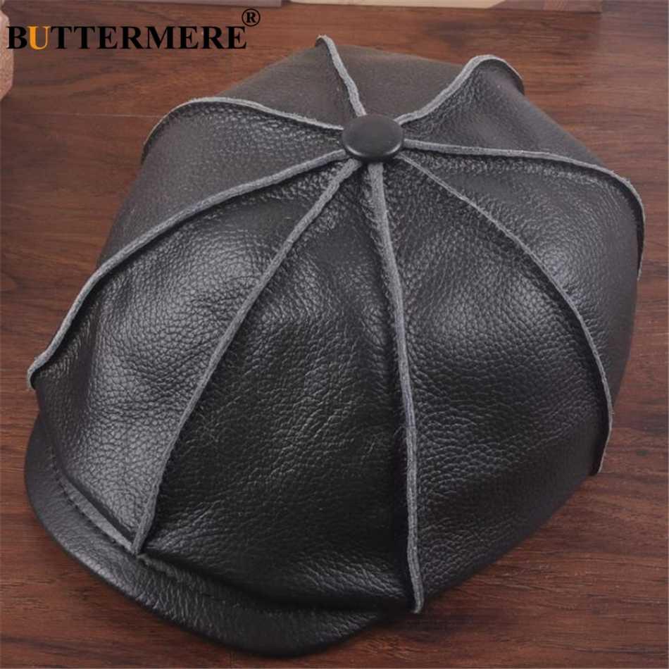 BUTTERMERE Мужская кепка газетчика из натуральной кожи, зимняя восьмиугольная кепка для мужчин, коричневая, черная, натуральная кожа, ретро, Мужской плоский плющ, шляпа