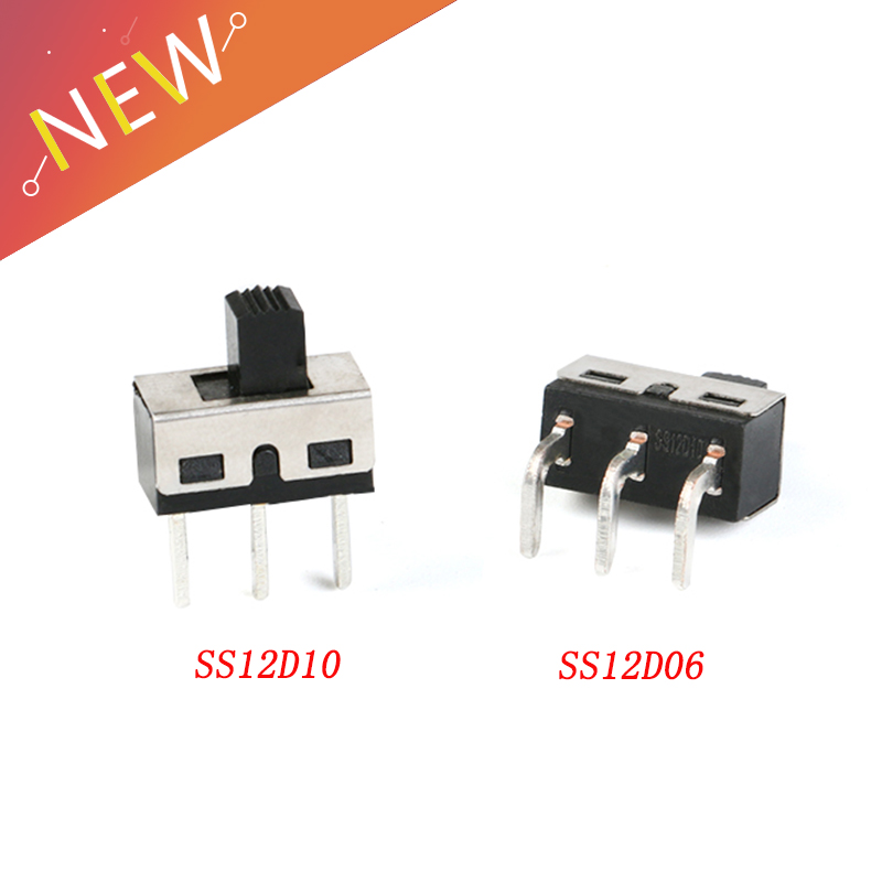 10Pcs SS12D10 SS12D06 Toggle Switch 3Pins Straight Feet Handle High 5mm Spacing Of 4.7mm 3A 250V SS12D10 Power Switches