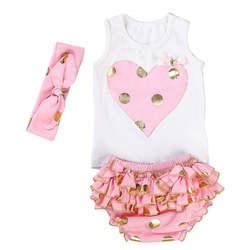 Новинка 2018 года, летняя одежда для маленьких девочек, Модный комплект одежды из 3 предметов в Золотой горошек, детская одежда с рюшами и