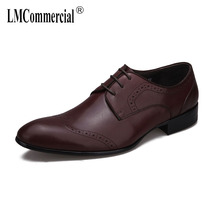 British business suit real leather shoes men bullock carved Men Dress Shoes casual natural loafers cowhide spring