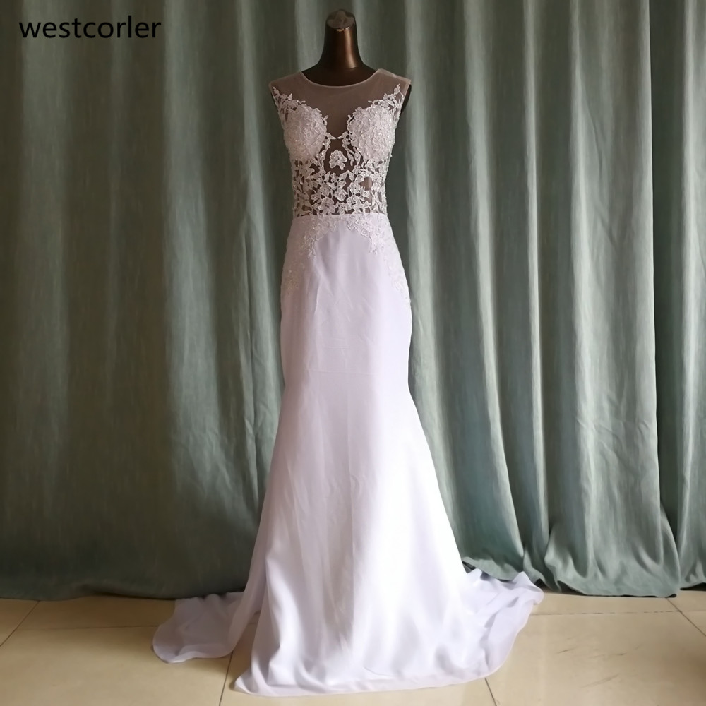 Buy mermaid wedding dress with lace for Wedding dress appliques suppliers