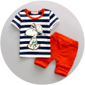 2pcs children summer cotton tracksuit  stripe cartoon dog clothing sets baby boys clothes kids t-shirt shorts suit