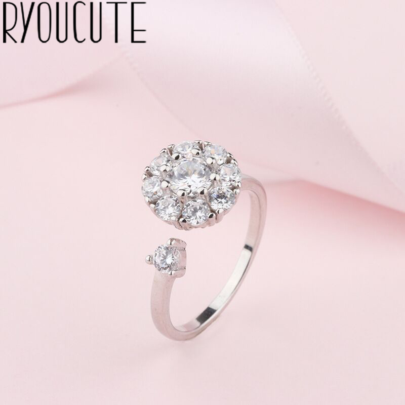 Bohemian Big Real Silver Color Cubic Zirconia Round Rings For Women Jewelry Punk Finger Engagement Ring Party Gift