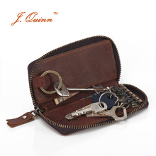 J.Quinn Zipper around Mens Women Car Key Holder Wallets Housekeeper Genuine Calf Leather Key organizer Case Bag for Woman Men
