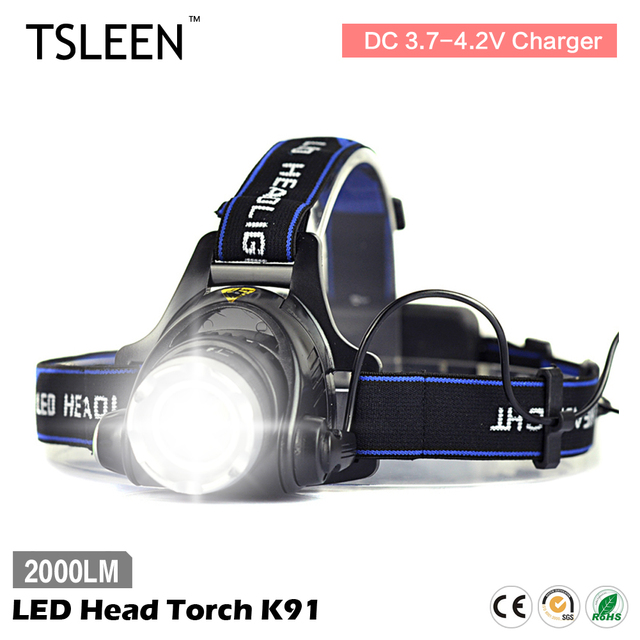 TSLEEN 2000LM T6 LED Head Torch Flashlight 18650 Battery Operated Light LED Head Torch AC Charger Camping/Cycling US/EU Plug