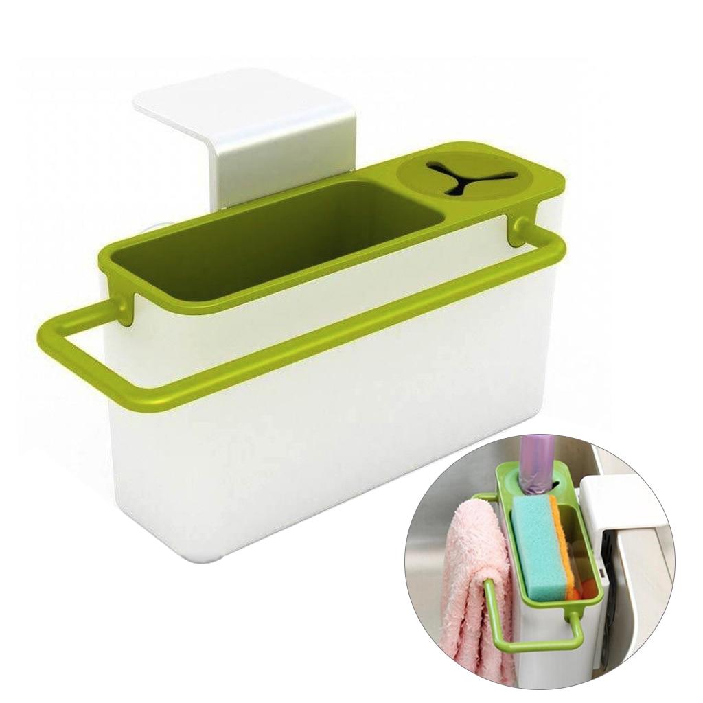 Kitchen Sink Sponge Caddy Brush Holder Rack Organizer Flexible Rubber White New