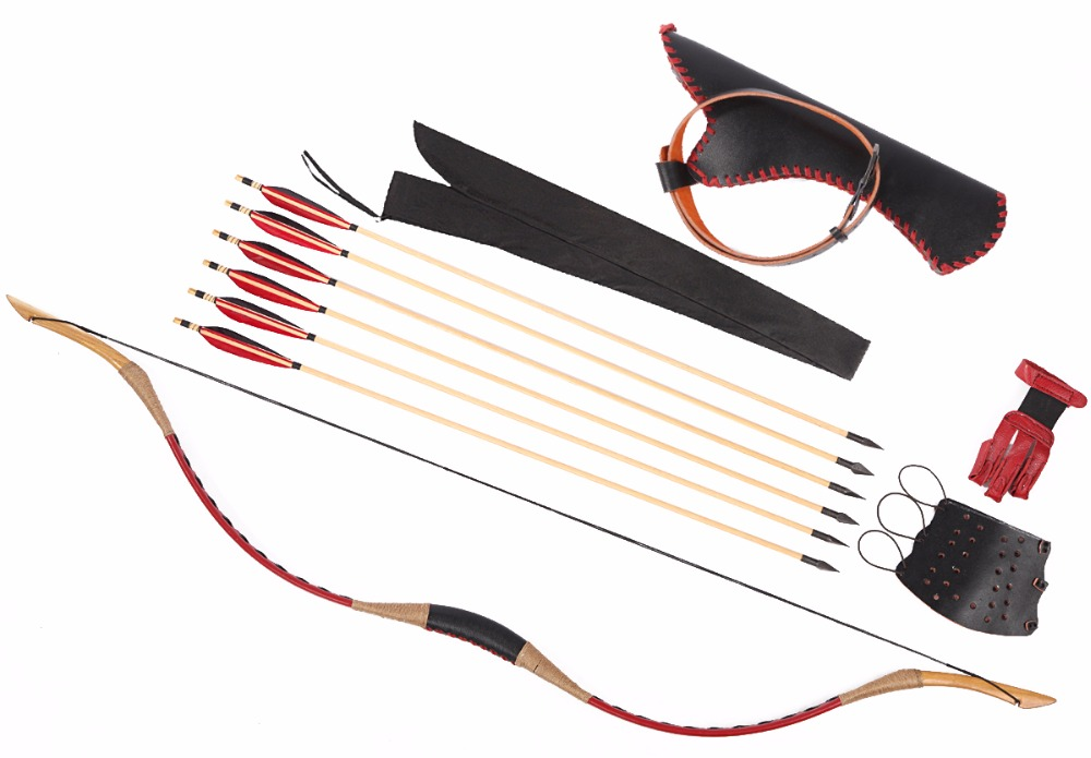 LongbowMaker Red Ali Bow Traditional HorseBow Hungarian Longbow Hunting Recurve 6 Wooden Arrows Finger+Arrow Quiver+Arm Guard 12pcs long bow arrow traditional wood arrow bow recurve bow arrows 33 with green turkey feather