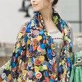 Hot Sale Fashion Brand Women Print Silk Scarf  for Women Chiffon Geometric Animal Elegant Ponchos and Capes