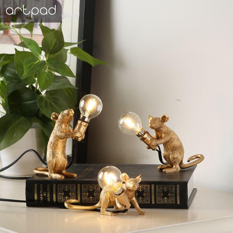 Postmodern vive belle résine souris lampe de Table chevet décor lumière E14 ampoule incluse Mini souris lampe de bureau chambre d'enfant veilleuse