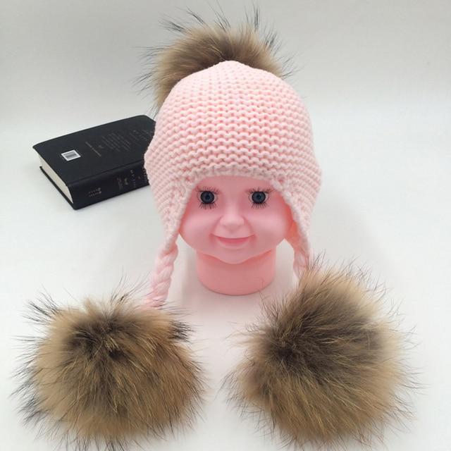 95c610a44cb Winter Baby Two Fur Pompoms Ball Hat Boy Girls Knit Natural Fur Ball Warm Beanie  Kids