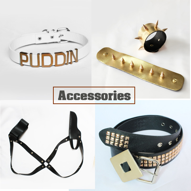 Milky Way Suicide Harley Cosplay Costume Suicide Accessories Harley Wig Collar Bracelet Belt Holster