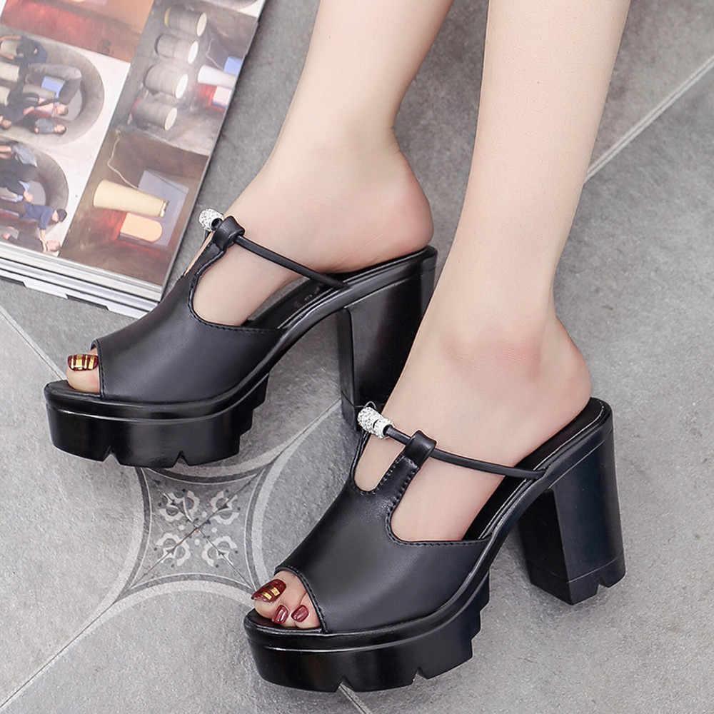 cbc72acf1 Women Slipper Sandals Heels Wedges Platform Leather Fish Mouth Crystal Elegant  Female Sandals Ladies Mules clogs