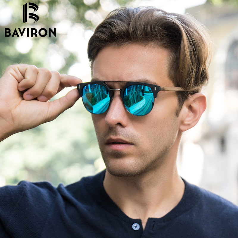 BAVIRON 2017 Designer Wooden Sunglasses Man Retro Classic Sun Glasses Metal and Wood Polarized Sunglasses Popular