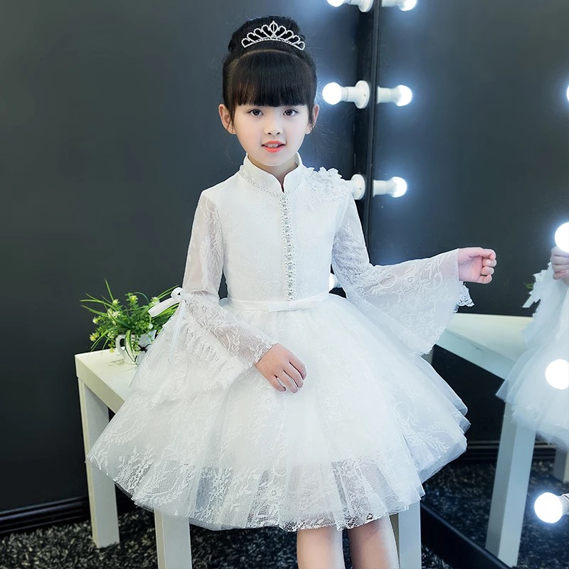 New Snow White Princess Girls Children Birthday Wedding Party Lace Dress Kids Beautiful Elegant Chirstening Ball Gown Dress Wear 2017 new high quality girls children white color princess dress kids baby birthday wedding party lace dress with bow knot design