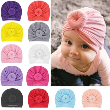 15 Colors Infant Headbands Solid Cotton Kont Turban Headband For Girls Spandx Stretchy Beanie Hat Headwear Baby Hair Accessories