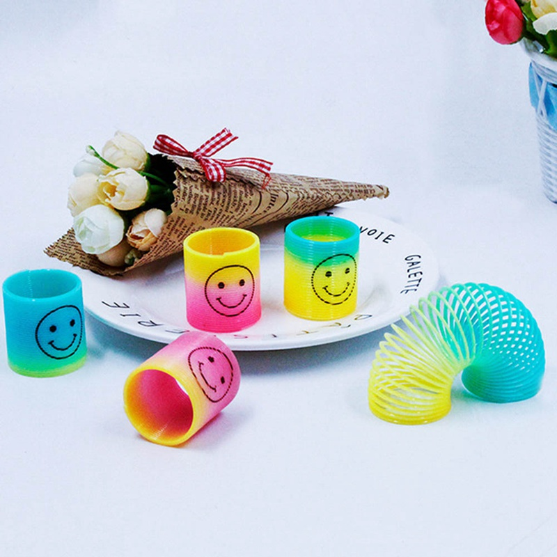 12pcs/set Mini Springs Rainbow Circle Kids Funny Toy Educational Toy Gifts For Child Party Bag