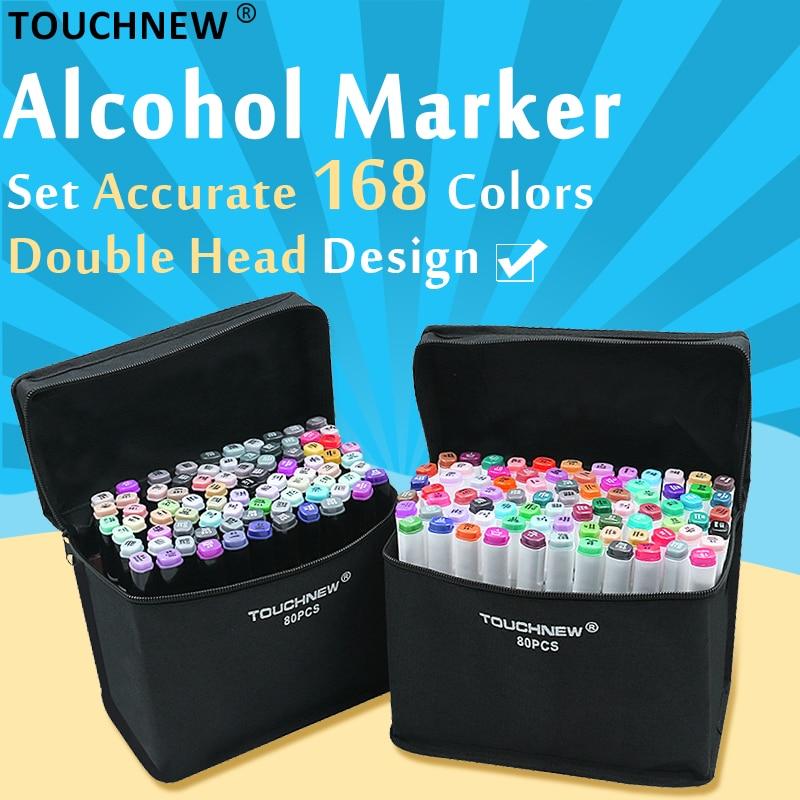 TOUCHNEW 168 colores arte marcadores de pluma para dibujar a base de Alcohol Manga dibujo marcadores de doble cabeza plumas arte suministros
