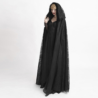 Steampunk Gothic Halloween Costumes Trech Coat Black Mysterious Lace Flower Pattern Velvet Fabric Big Cape Long