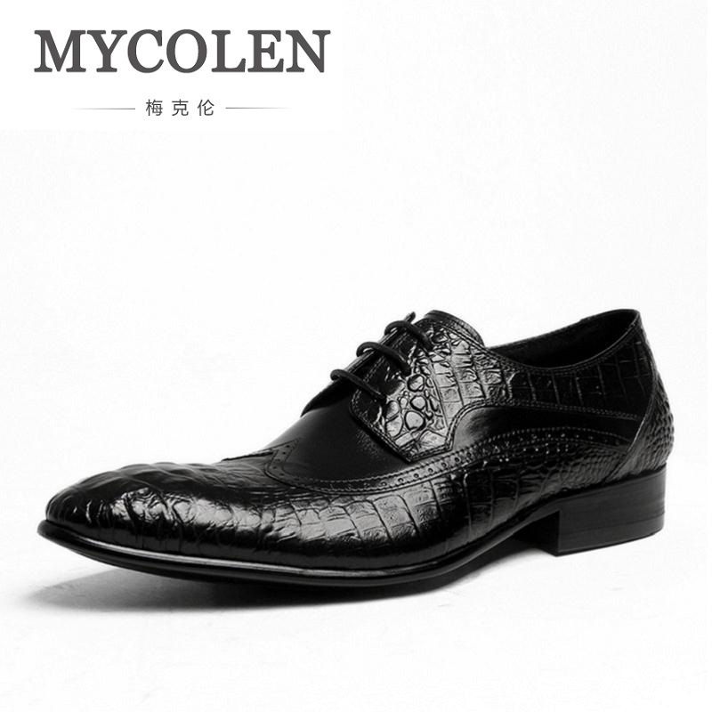 MYCOLEN Spring/Autumn Red/Black Crocodile Pattern Men's Genuine Leather Men Shoes Pointed Toe Designer Brogue Dress Shoes хайлайтер essence strobing highlighter stick 20 цвет 20 glow up your life variant hex name eddcc9