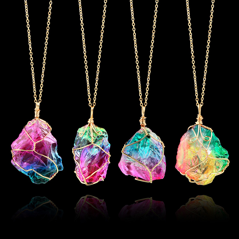 Rainbow Natural Stone Pendant Necklace