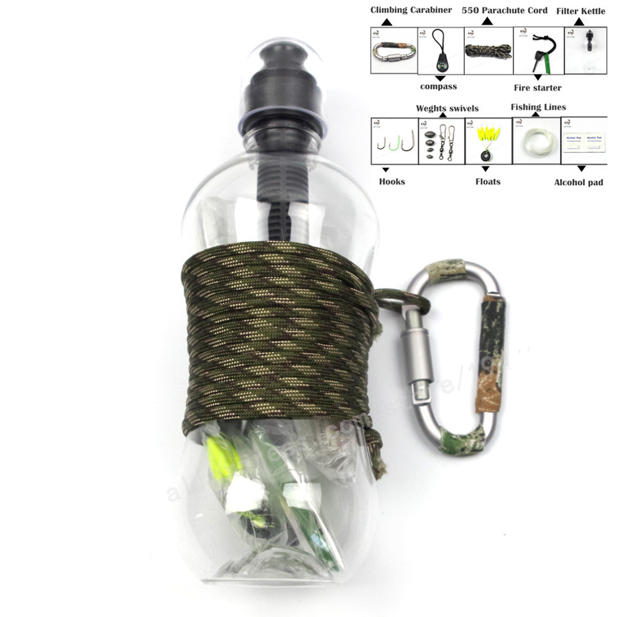 2018NEW 11 in1 SOS Outdoor Camping Hiking Emergency Survival Gear activated carbon filter kettle Kit Se tactical survival kit in Outdoor Tools from Sports Entertainment