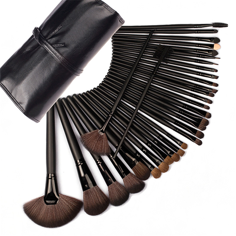 32 Pcs/Set High Quality Black Professional Cosmetic Makeup Brush Set Upscale Wool Fiber+Horse Hair Brush For Makeup Tools 50 hanks high quality mongolia stallion white violin bow hair 6 grams hank white horse tails 32 inches