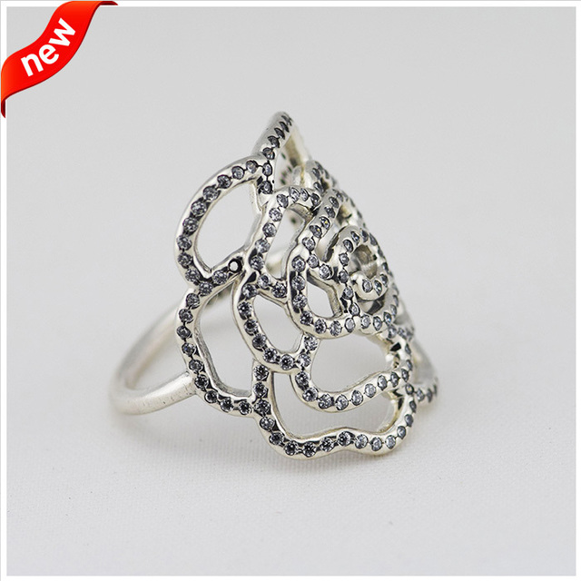 Trendy Jewelry 925 Silver Shimmering Large Rose Ring With Micro Clear CZ Sterling-Silver-Jewelry Wedding Rings For Women