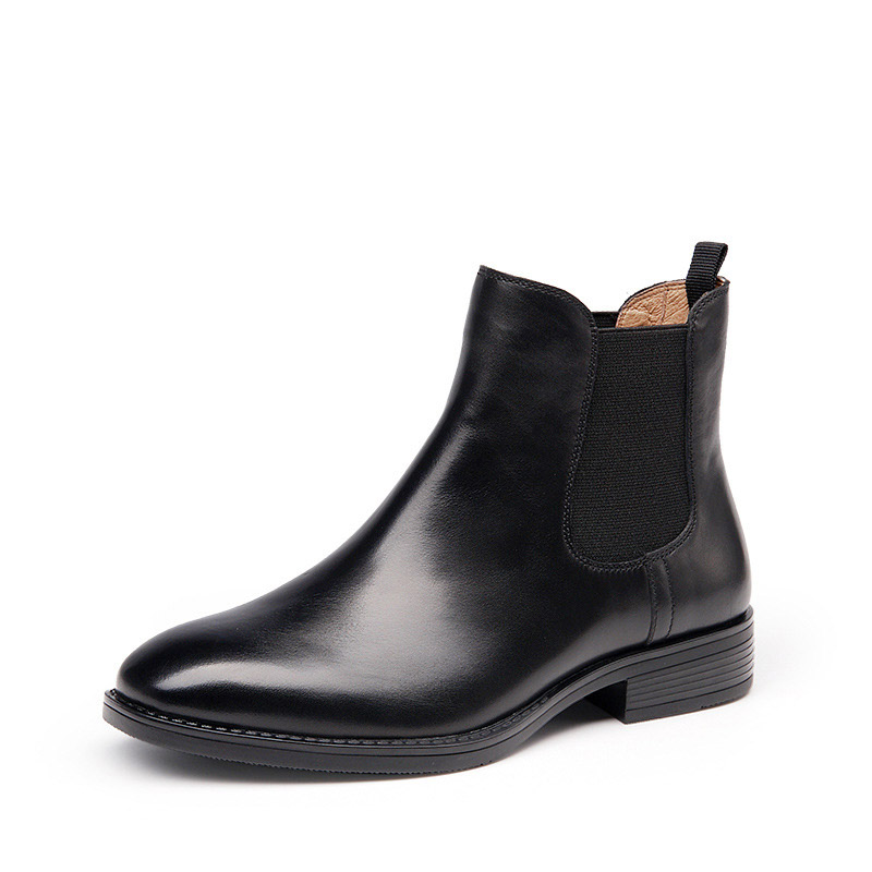 ФОТО Women's Boots Genuine Leather Women Fashion Chelsea Leather Boots Handmade Ankle Martin Boots Winter Shoes Botines Mujer