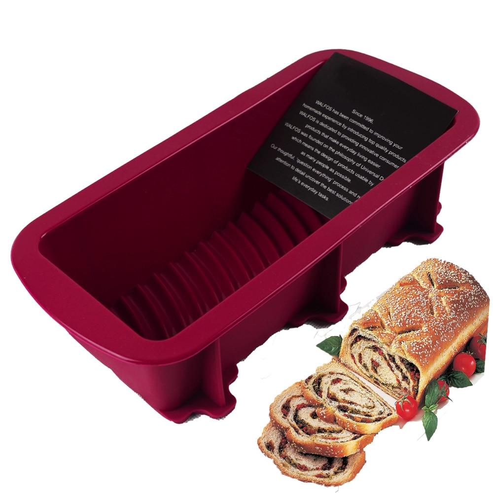 WALFOS บิ๊กซิลิโคนสี่เหลี่ยมผืนผ้า Non Stick ขนมปังก้อนเค้กแม่พิมพ์ภาชนะถาดอบเตาอบแม่พิมพ์ 27 * 12 เซนติเมตร 4 สีอุปทาน