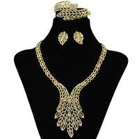 New Fashion Dubai Women Jewelry Gold Hollow Flower Necklace Earrings Bracelet Turkish Wedding Bridal Jewelry Sets