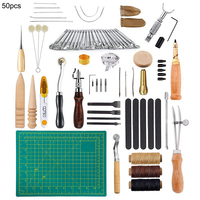 50PCS Leather Craft Tool Leather Sewing Tools Kit Leather DIY Hand Stitching Tools for Sewing Leather Canvas
