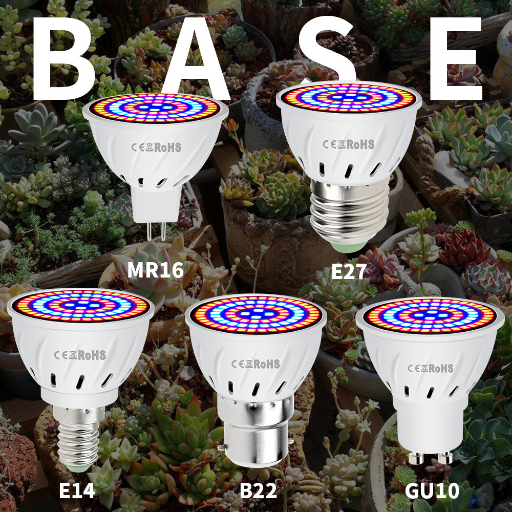 Phyto Led B22 Hydrocultuur Groei Licht E27 Led Grow Lamp MR16 Volledige Spectrum 220V UV Lamp Plant E14 Bloem zaailing Fitolamp GU10