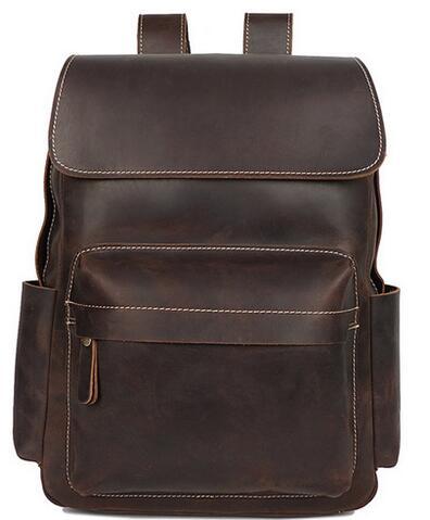 Genteel Joyloading Brown Genuine Leather Children Preppy Students Schoolbag Shoulders Backpack Backpacks Luggage & Bags