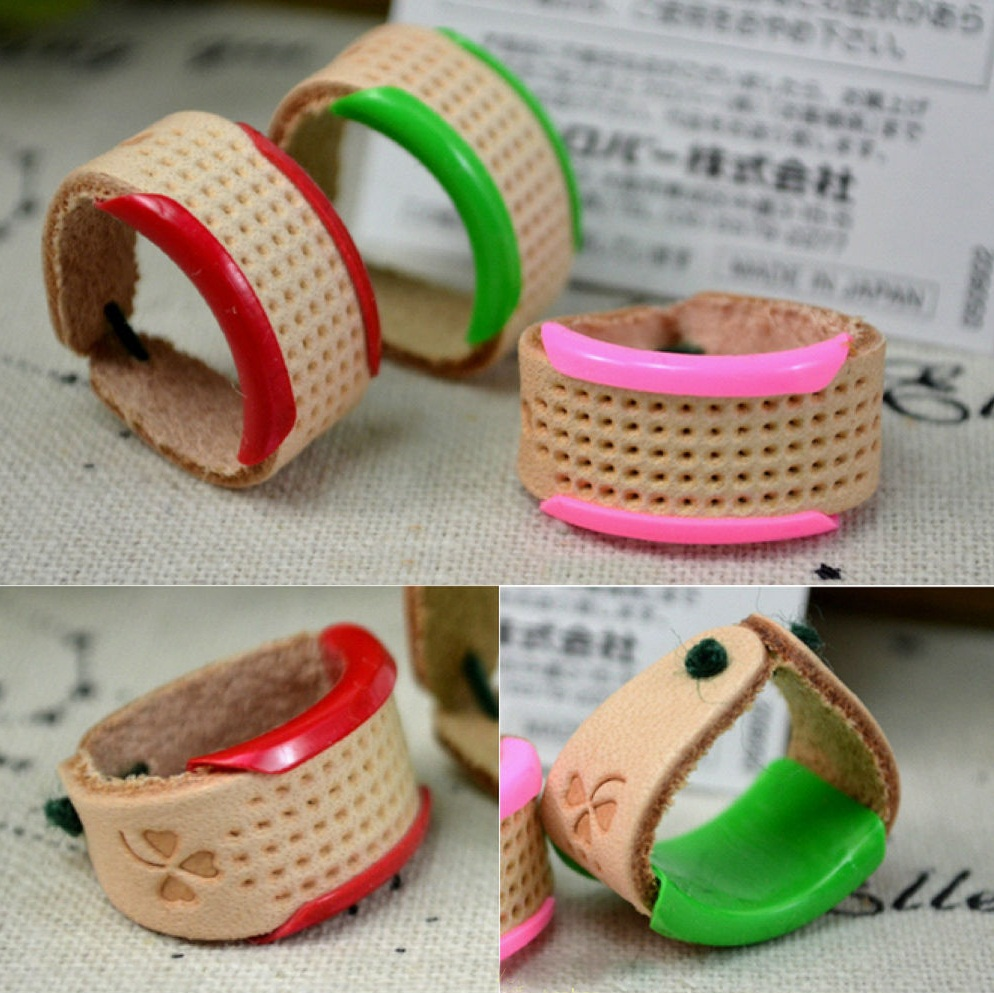Finger Protector Plastic And Soft Leather Thimble Adjustable Ring Finger Thimble Needles Partner Sewing Tools & Accessory 1pcs