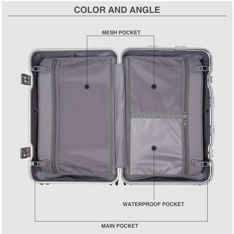 Hanke cadre en alliage d'aluminium bagages boîtier de chariot hommes valise femmes Spinner roues roulant bagage PC Shell 20 24 28 pouces H9939 - 3