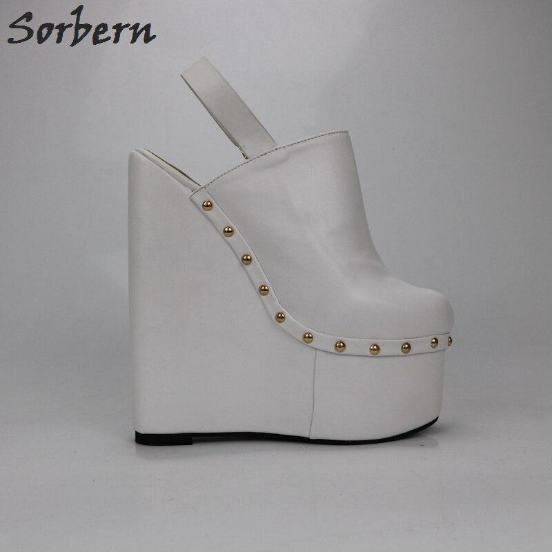 Sorbern/белые женские туфли лодочки на высоком каблуке 20 см; туфли на толстой платформе с открытой спиной; модная женская обувь на платформе - 5