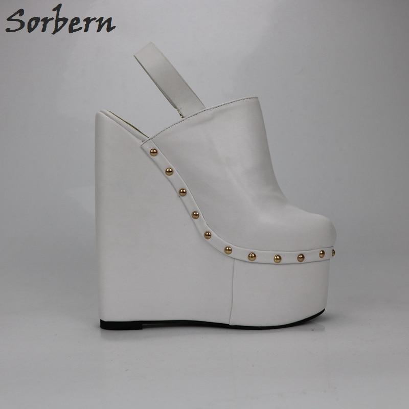 Sorbern White Heels Wedged Slingbacks 20Cm High Heels Women Pumps Open Back Thick Platform Shoes Ladies Platform Heels Fashions - 5