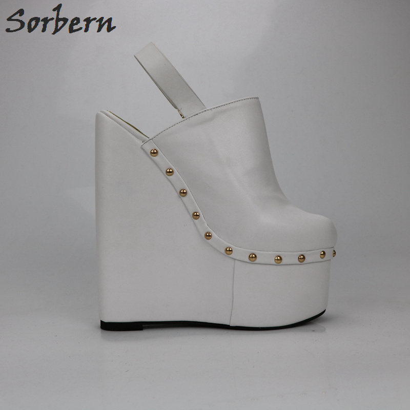 Tacones blancos de Sorbern con tacones altos de 20 Cm para mujer, zapatos con plataforma gruesa y espalda abierta, tacones de plataforma para mujer - 5