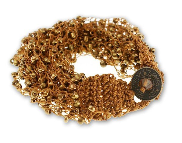 Multi-layer Brown Seedbeads Bangle with Coin Button