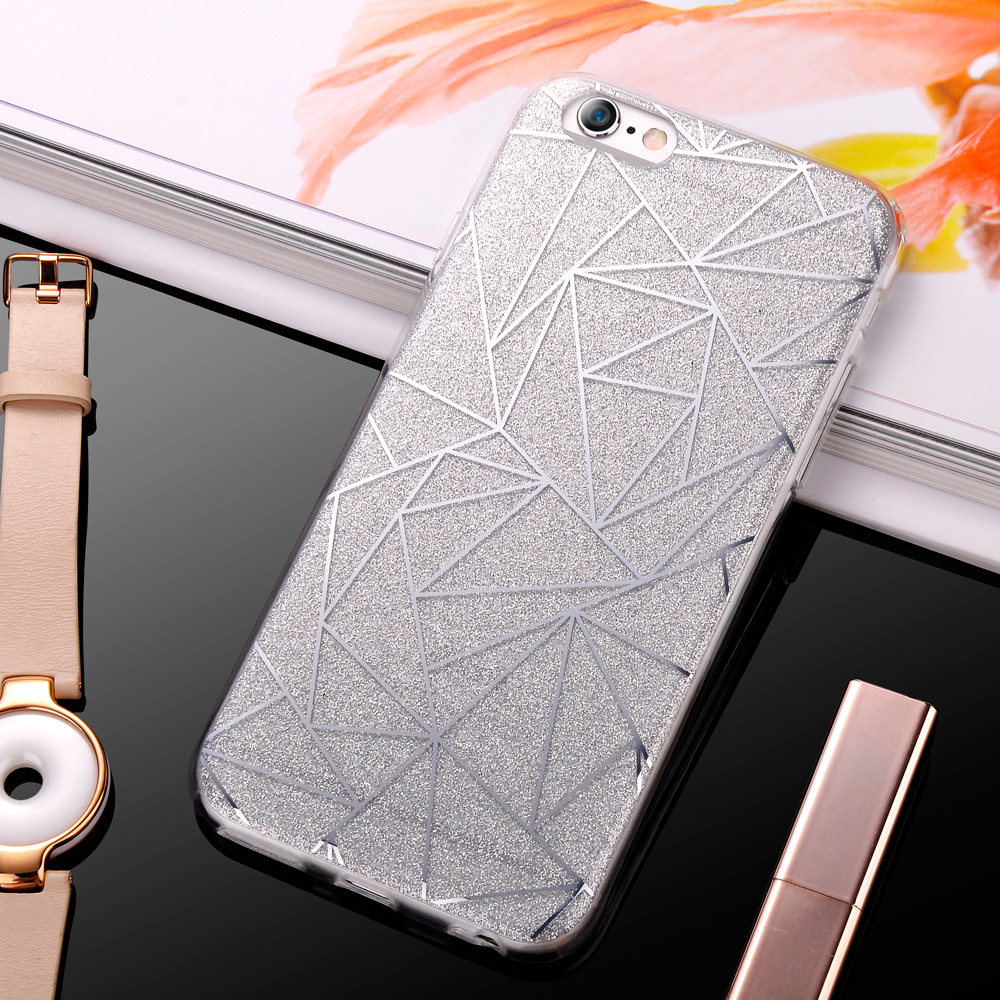KolPler TPU case for iPhone 6s case Bling Glitter Powder cover for iphone 8 cover case for iPhone 5se 6 7 PLUS case bumper shell