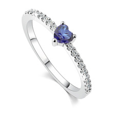 Anti Allergy 3 Claws Ocean Blue Crystal CZ Crystal Engagement Heart Rings For Women Silver Plated Wedding Jewelry