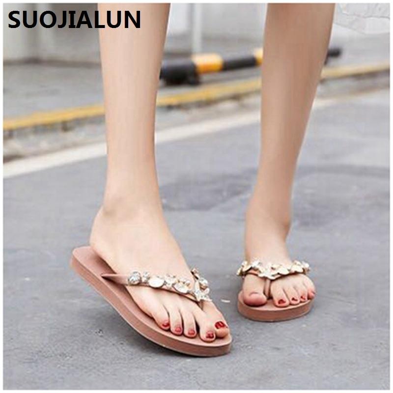 SUOJIALUN 2019 Women Slippers Summer Beach Flip Flops Sandals shell Ladies Flats Shoes